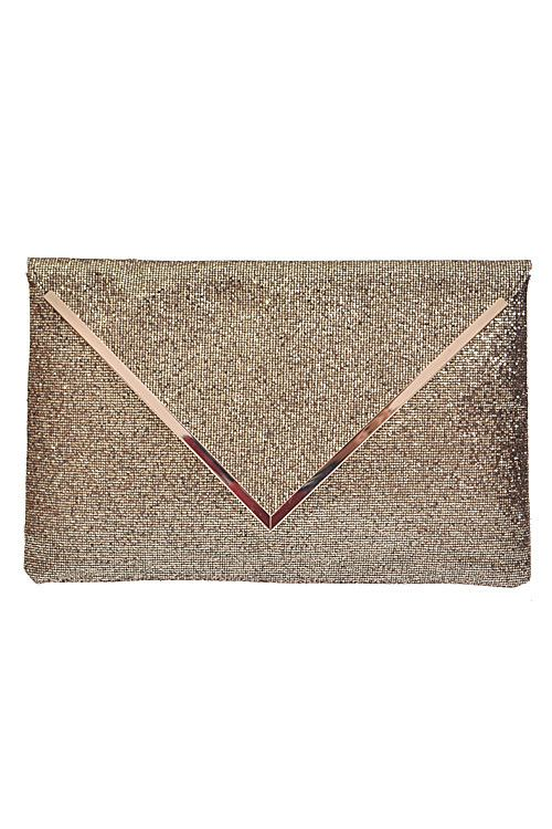 Insta Glam Oversized Metallic Clutch - Gold