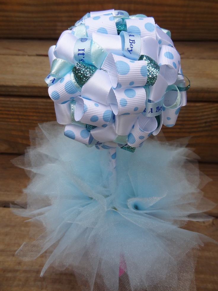 Ribbon Topiary It's A Boy in Blue and White for Baby Shower/Party Centerpiece/Decoration: Small Size. $20.00, via Etsy.