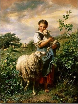 The Lord is my shepherd. Sweet little girl and her sheep.