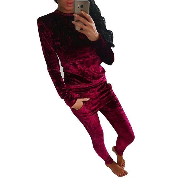 2017 Jesień Zima Nowy 2 Sztuka Zestaw kobiety Moda Damska błyszczące Aksamitny Garnitur Panie Topy + Spodnie Dorywczo Stałe Zestaw Dla Femme 24N262