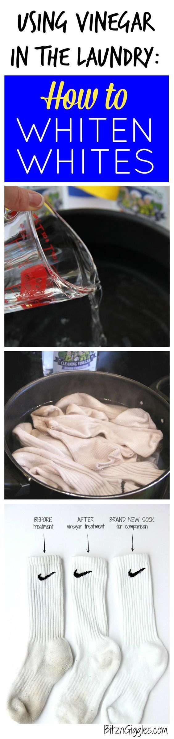 Using Vinegar in the Laundry: How to Whiten Whites - Tutorial on using a natural cleaner to brighten dingy white socks and clothes! It really works!
