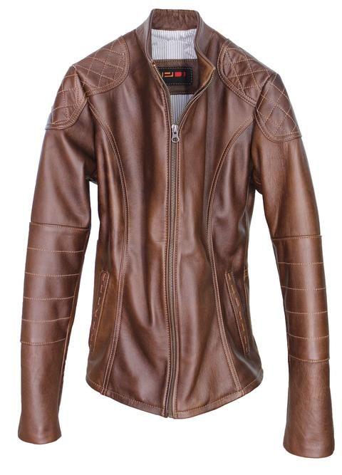 SIDNEY Leather Jacket Womens - Mahogany - Lamb
