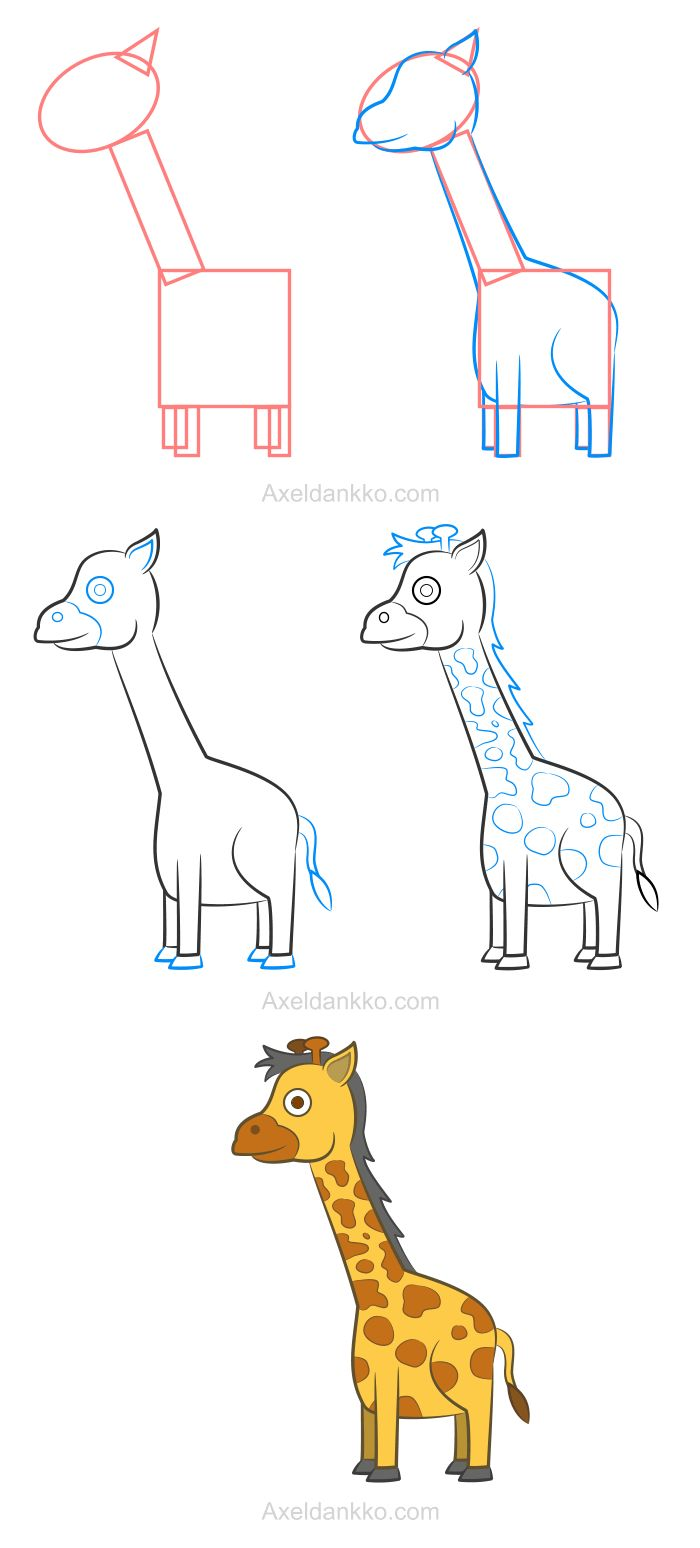 How to draw a giraffe - Comment dessiner une girafe