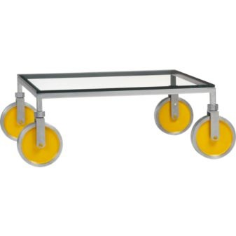 Yellow casters // Yield Coffee Table from CB2: Cb2, Sleek Tables, Decor Ideas, Living Rooms, Home Accessories, Coff Tables, Yield Coffee, Accent Tables, Industrial Coffee Tables