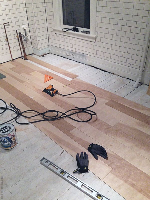 Installing a plywood plank kitchen floor, part one.
