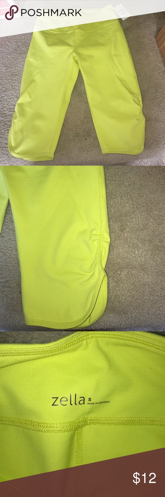 "Neon Yellow (""Lime Soda"") Cropped leggings New with tags. From Nordstrom. Never worn. Neon cropped leggings. Crunched up bottoms on legs side. Very stretched material. Nordstrom Pants Leggings"
