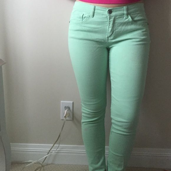 Macy's beautiful mint juniors jeans Worn a handful of times, great condition! Pretty mint jeans great with navy tops etc.! Macy's Jeans Skinny