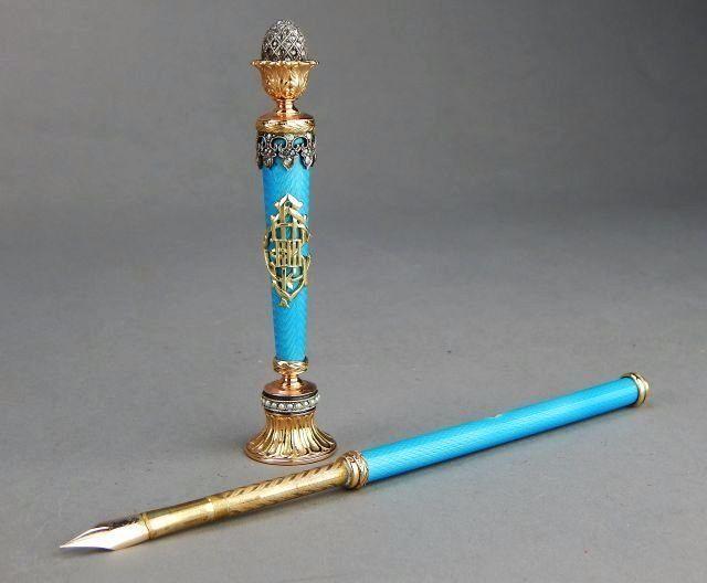 Russian Gold & Faberge Guilloche Enamel Pen & Seal