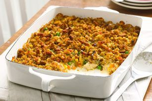 I was thinking about tater tot casserole and wondering if you could make a similar casserole using Stove Top Stuffing.  Apparently you can!