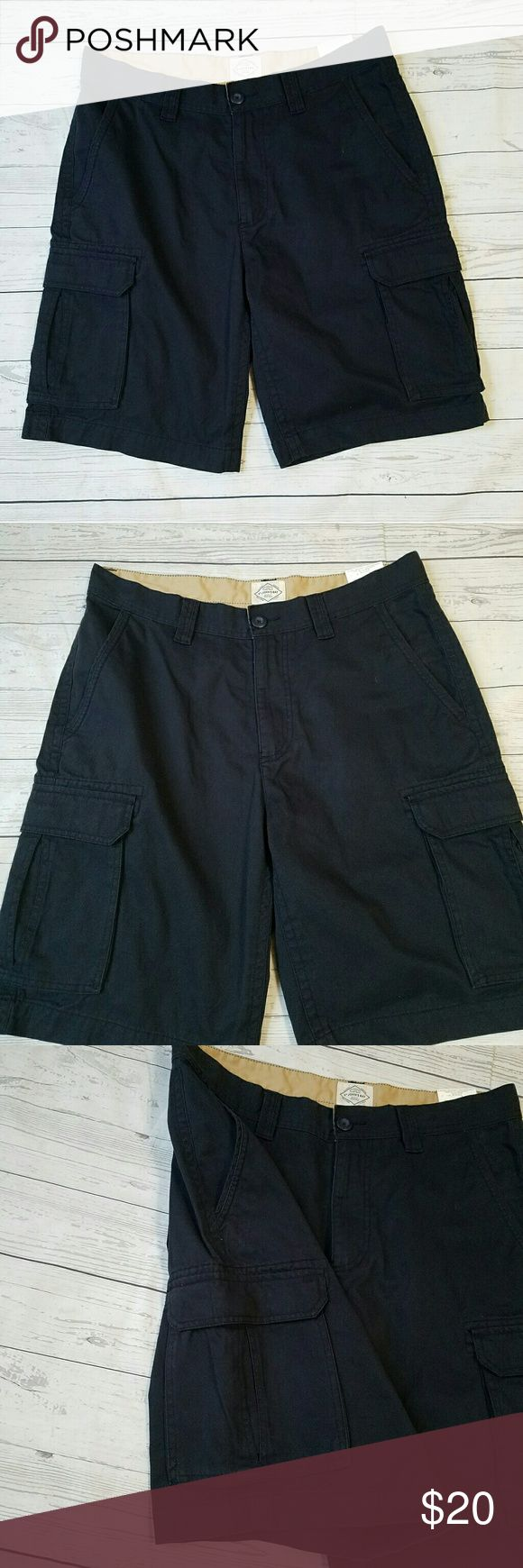 "Mens Legacy Cargo Shorts Men's twill cargo shorts. 100% cotton.  17"" across the top of the waist  22 3/4"" across the hips  11 3/4"" across the leg opening. 10"" inseam. All measurements taken lying flat and unstretched.  Color: Aviator Blue St. John's Bay Shorts Cargo"