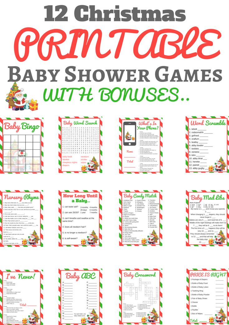 12 Christmas baby shower games that will turn your upcoming December baby shower into a magical event. These printable baby shower games are so much fun.