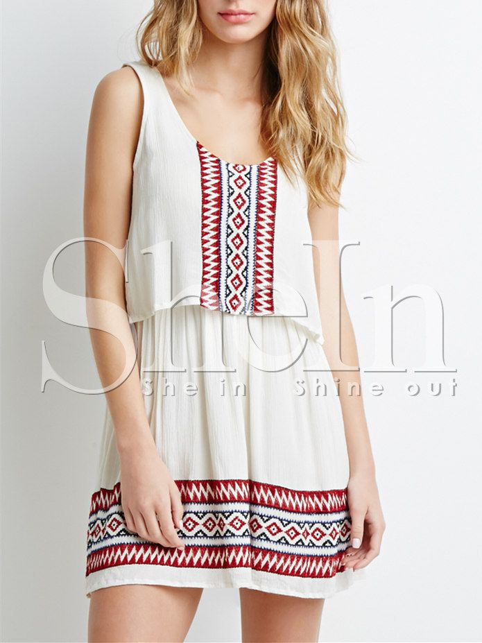 White Sleeveless Geometric Embroidered Dress-SheIn