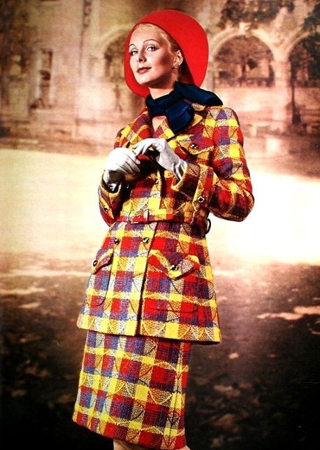 1971 Red, yellow, blue wool plaid suit by Nina Ricci