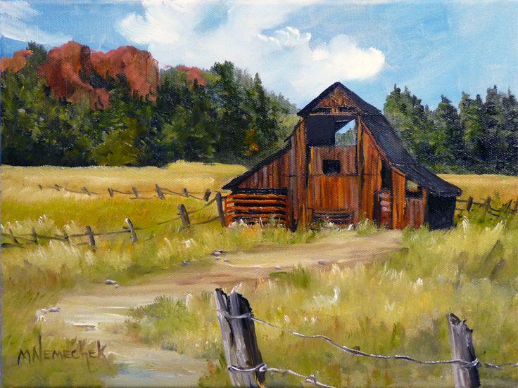 Old Barn Paintings | Old Barn Paintings Small originals - melinda nemechek - fine art ...
