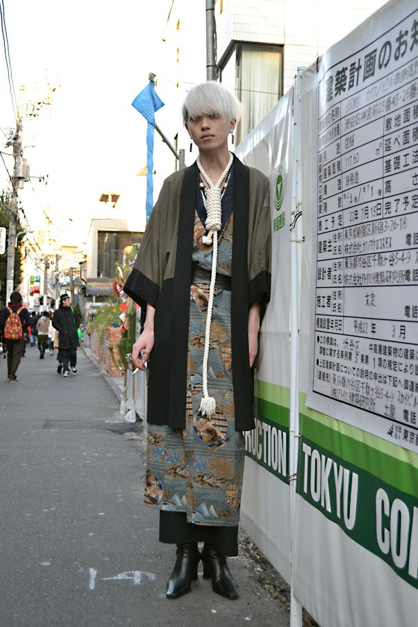 Q Occupation:ネオニート Jacket:Vintage Kimono:Vintage Skirt:実撃洋服店 Shoes:Dog Necklace:Handmade Ring:Handmade