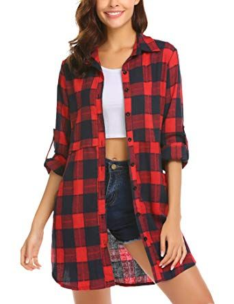 eef85ff1f5610 HOTOUCH Womens Flannel Plaid Shirts Roll Up Long Sleeve Pockets Mid-Long  Casual Boyfriend Shirts at Amazon Women s Clothing store