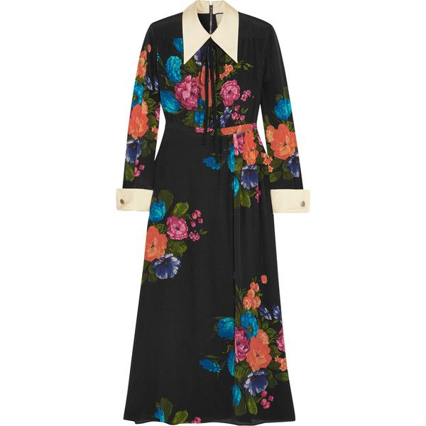 Gucci Grosgrain-trimmed floral-print silk crepe de chine midi dress (49.346.885 IDR) ❤ liked on Polyvore featuring dresses, black, calf length dresses, floral print midi dress, mid calf dresses, flower pattern dress and colorful dresses