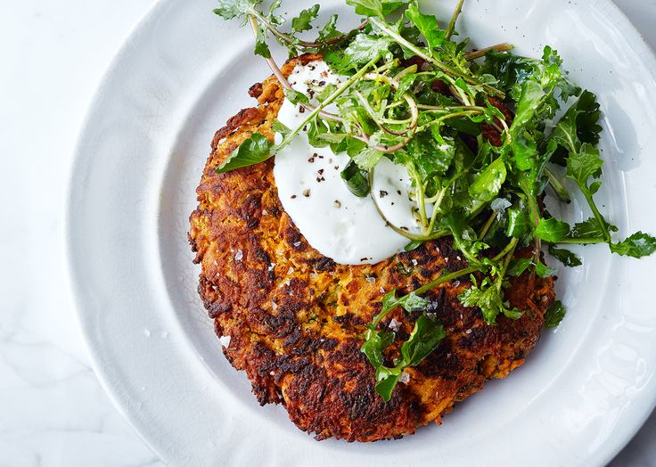 With a texture somewhere between a latke and a pancake, these vegetarian fritters are also gluten-free. (Thanks, chickpea flour!)