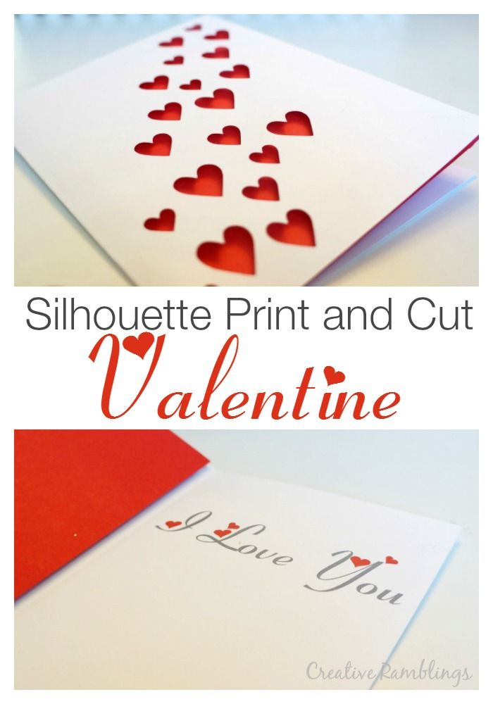 Silhouette print and cut valentine card.  A simple and easy card for any holiday. #silhouettechallenge