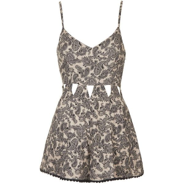 TopShop Paisley Cut-Out Romper ($68) ❤ liked on Polyvore featuring jumpsuits, rompers, dresses, playsuit, topshop, cream, cutout jumpsuit, topshop rompers, playsuit romper and jump suit