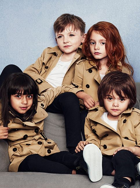 Heritage trench coats in miniature - boys and girls in the Burberry Childrenswear S/S14 campaign #Shopping #OnlineShopping #Burberyy