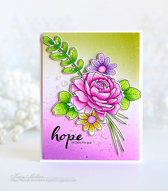 My Joyful Moments: Simon Says Stamps New Beginnings More Spring Flowers Card by Kay Miller