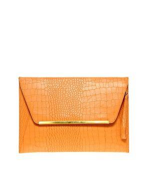 ASOS Orange Faux Crocodile Laptop Case with Metal Bar $35.81