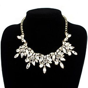 Fit&Wit Bling Rhinestone Crystal Statement Fashion Necklace
