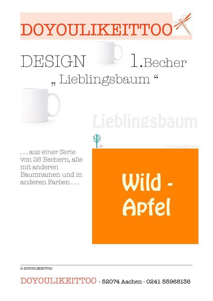 Becher / Tasse mit Baum-Motiv, aus Serie von 26 Bechern in 26 Farben,handbeschr. in Möbel & Wohnen, Kochen & Genießen, Gedeckter Tisch | eBay!