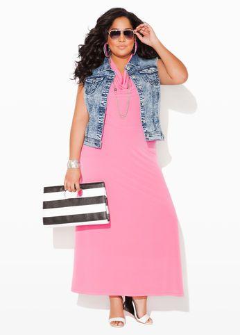 Ashley Stewart Web Exclusive Drape Neck Halter Maxi Dress, Stonewash Denim Vest, Web Exclusive Striped Keyhole Clutch Bag and Pyramid Rim Sunglasses