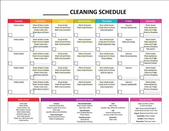 monthly chore calendar template