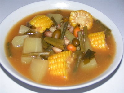 sayur asem, is very indonesian food.  Mix vegetables with sour and spicy soup