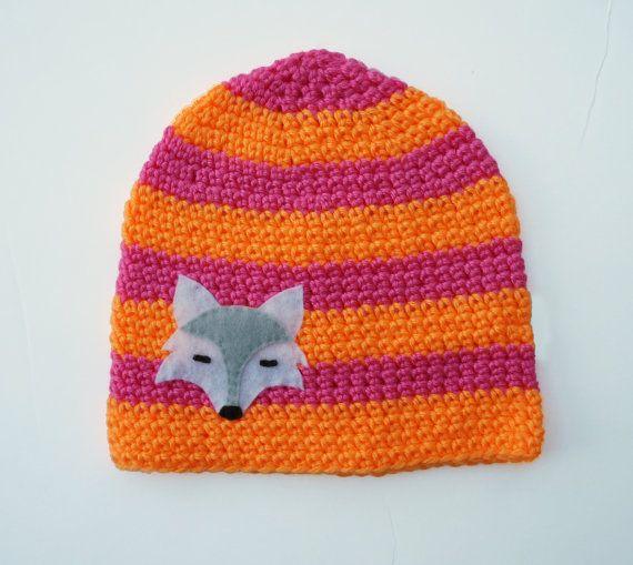 Girls winter hat woodland fox beanie orange & by pineapplepetekids, $24.00