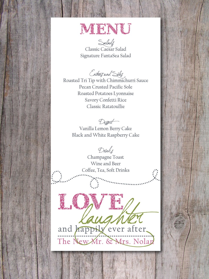 happily ever after wedding invitations%0A Wedding Menu  Happily Ever After          via Etsy