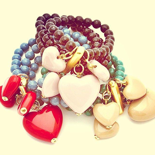 Matildesign stretch bracelets, heart, cuori, made in Italy, bijoux, fashionjewelry