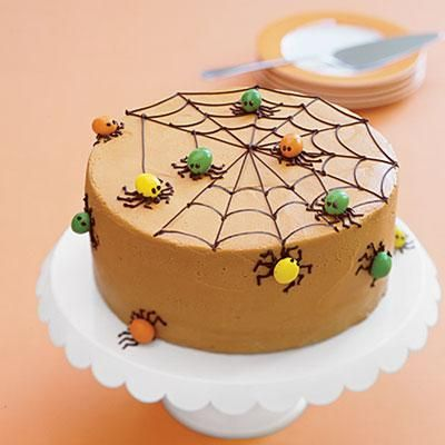 Spiderweb Spice Cake - make spiders from M&M's and chocolate piping.