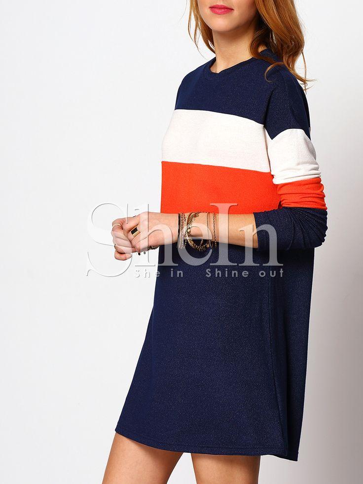 Shop Royal Blue Color Block Casual T-shirt Dress online. SheIn offers Royal Blue…