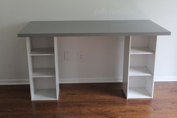 DIY desk using IKEA table top and bookshelves from Target