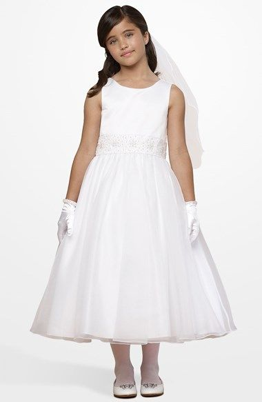 Free shipping and returns on Us Angels Beaded Waist Dress (Little Girls & Big Girls) at Nordstrom.com. Glittering beads decorate the inset waist of a darling dress with a shiny satin top, while a sheer tonal overlay floats atop the full skirt.