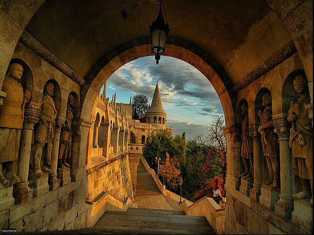 Arch view of the Fisherman's bastion, Budapest,Hungary
