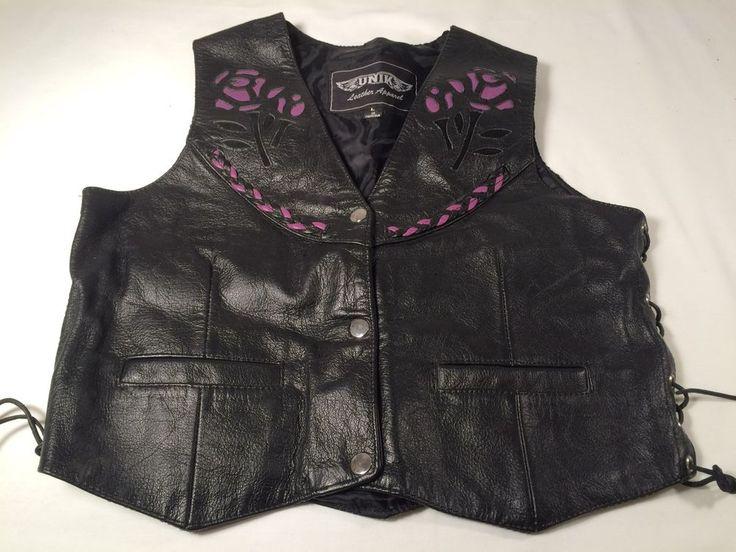 UNIK Leather Apparel Black Leather Biker Vest Sz L Purple Rose Braided #UNIKLeatherApparel #Motorcycle