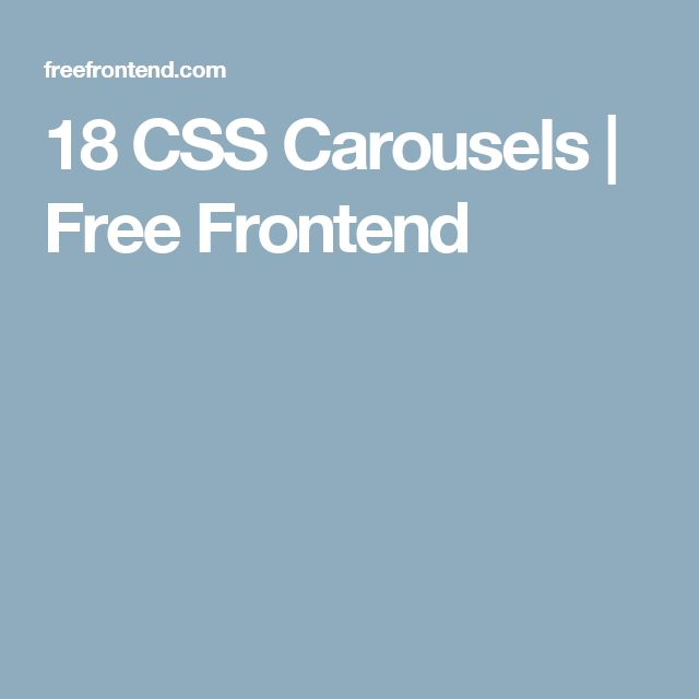 18 CSS Carousels | Free Frontend