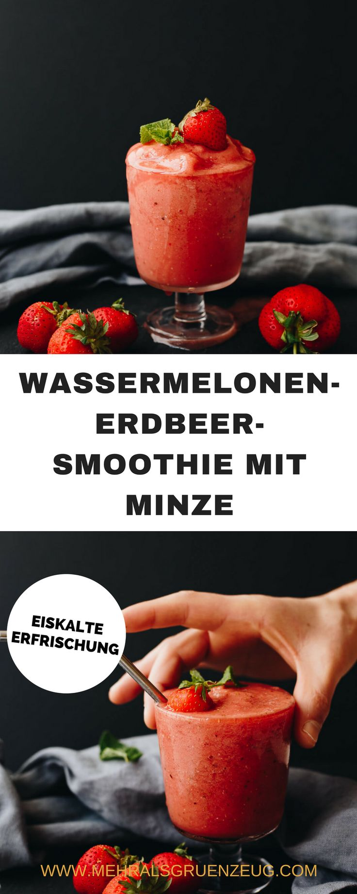 Eiskalter Wassermelonen-Erdbeer-Smoothie mit Minze - die ideale Erfrischung für heiße Tage. Wahlweise auch als Sorbet zu genießen. Vegan, schnell gemacht und einfach großartig lecker!