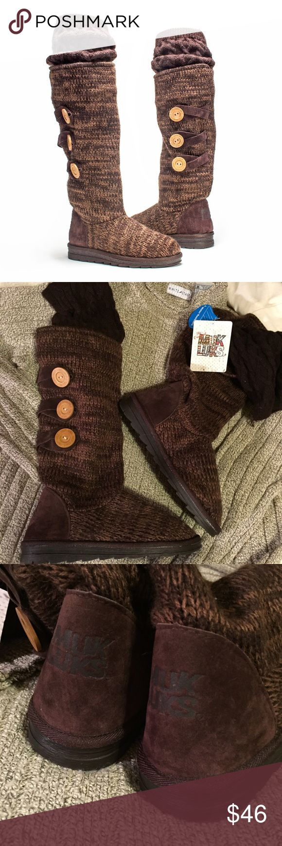 New Muk Luks tall sweater boots New adorable Muk Luk boots, these are not the slippers. Rich colors, soft cozy and comfortable.  Water resistant. From non smoking home. Muk Luks Shoes Winter & Rain Boots