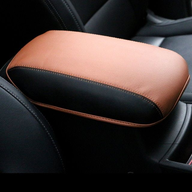 Leather Car Armrest Covers Pad Center Console Seat Armrest Storage