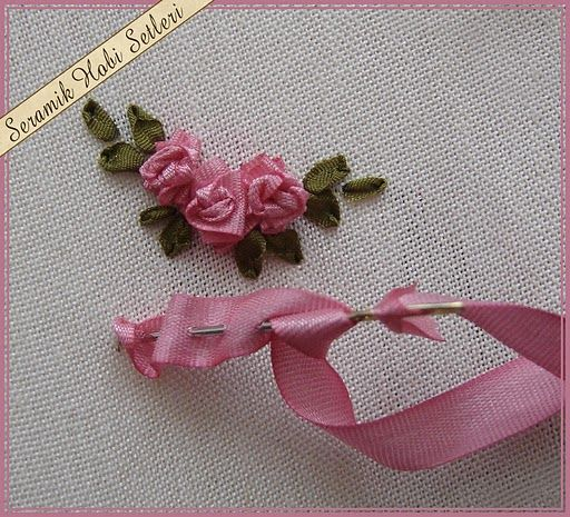Pics For > Ribbon Embroidery Roses Tutorial