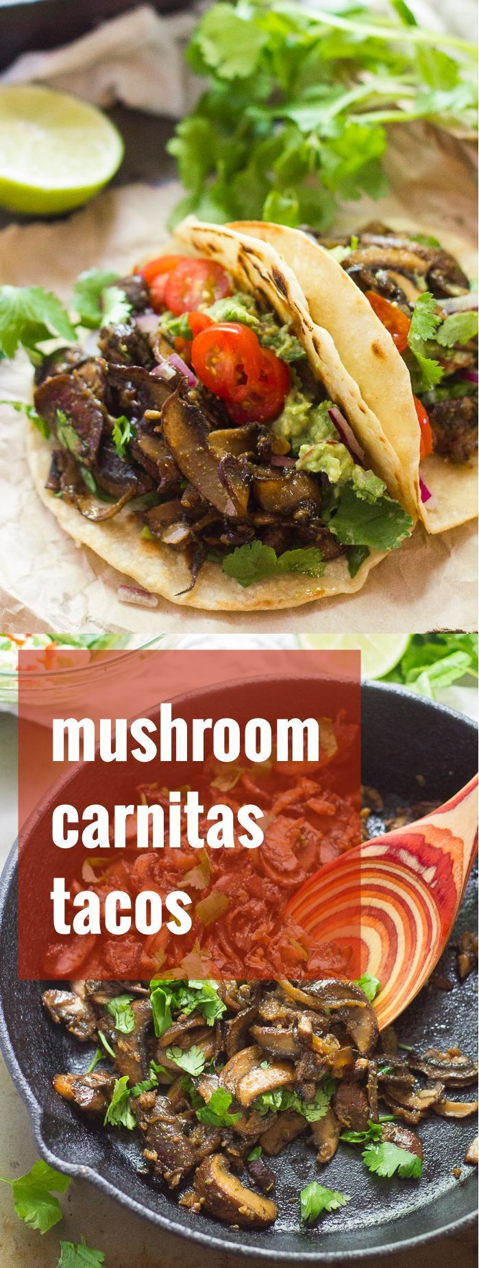 Baby portobello mushrooms are sliced thin, simmered with Mexican spices, and stuffed into tortillas with creamy guac to make these flavor-packed mushroom carnitas tacos.