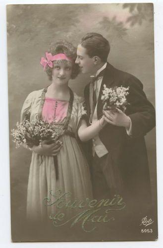 Edwardian love romance couple original old 1910s photo