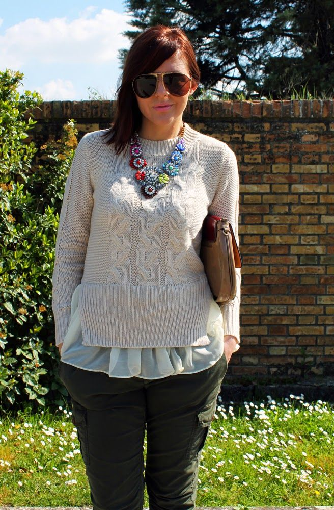 amemipiacecosi: Outfit: maglione con trecce e volant e pantaloni militari  More pics here http://amemipiacecosi.blogspot.it/2014/04/outfit-maglione-con-trecce-e-volant-e.html  #outfit #look #oasap #drykorn #cinti #midheeels #beige #sweater #military #pants #sunglasses #look #style #fashionblogger