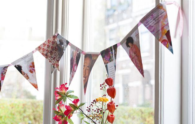 Vlaggetjes van een tijdschrift